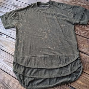 Olive tee with unique cut